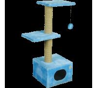 Дом для кошек Зооник однотонный мех, две площадки 400 мм x 360 мм x 980 мм
