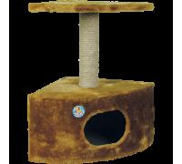 Дом для кошек Зооник однотонный мех, круглый угловой 430 мм х 430 мм х 670 мм