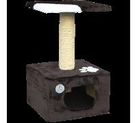 Дом для кошек Зооник однотонный мех с аппликацией 340 мм х 340 мм х 600 мм