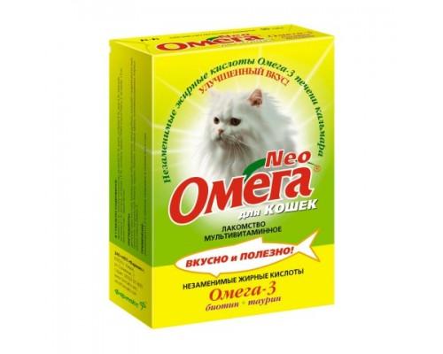 """ОМЕГА NEO+ лакомство для кошек с Биотином и таурином """"Блестящая шерсть"""" 90 таб"""
