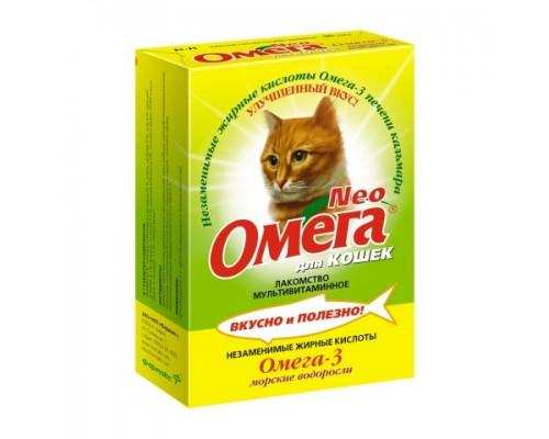 """ОМЕГА NEO+ лакомство для кошек с Морскими водорослями """"Крепкое здоровье"""" 90 таб"""
