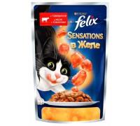 Феликс Sensations для кошек кусочки в желе говядина, томат (Felix). Вес: 85 г