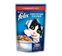 Феликс Аппетитные кусочки для кошек в желе говядина (Felix)
