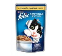 Феликс Аппетитные кусочки для кошек в желе курица, томат (Felix). Вес: 85 г
