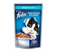 Феликс Аппетитные кусочки для кошек в желе форель (Felix). Вес: 85 г
