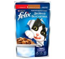 Феликс Двойной вкус для кошек кусочки в желе говядина/птица (Felix). Вес: 85 г