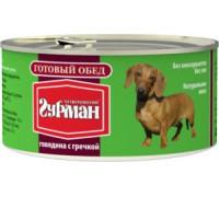 Четвероногий Гурман консервы для собак Готовый обед Говядина с Гречкой. Вес: 325 г