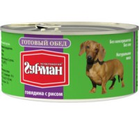 Четвероногий Гурман консервы для собак Готовый обед Говядина с Рисом. Вес: 325 г