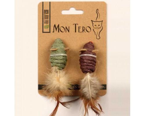 MonTero Мышь 5см с кош.мятой зелен/фиолет. ЭКО