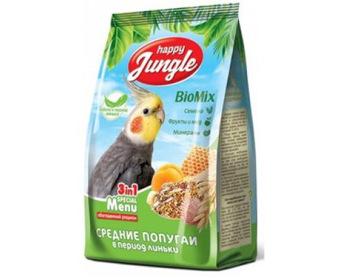 HAPPY JUNGLE Корм для средних попугаев при линьке. Вес: 500 г