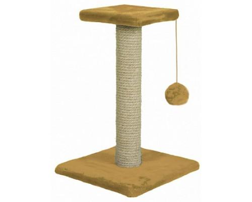 ЗООНИК Когтеточка на подставке с полочкой 54 см бежевый (однотонный мех) 340х340х540