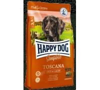 Happy Dog Toscana для взрослых собак весом со сниженными потребностями в энергии, кастрированным, пожилым, собакам с избыточным весом и аллергикам. Утка/Лосось. Вес: 1 кг