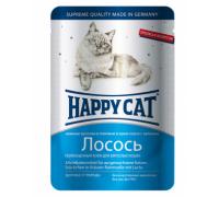 Happy Cat Паучи /лосось ломтики/ в соусе. Вес: 100 г