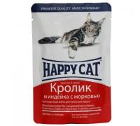 Happy Cat Паучи /кролик - индейка - морковь/ в соусе. Вес: 100 г