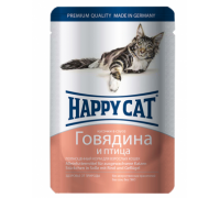 Happy Cat Паучи /говядина - птица/ в соусе. Вес: 100 г