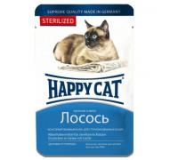 Happy Cat Паучи для стерилизованных кошек /лосось кусочки/ в желе. Вес: 100 г
