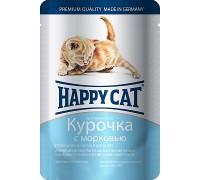 Happy Cat Паучи для котят /курочка с морковью/ в соусе. Вес: 100 г