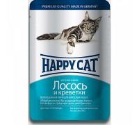 Happy Cat Паучи /лосось - креветки/ в желе. Вес: 100 г