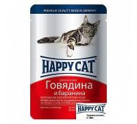 Happy Cat Паучи /говядина - баранина/ в соусе. Вес: 100 г