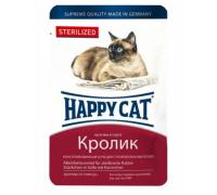 Happy Cat Паучи для стерилизованных кошек /кролик кусочки/ в соусе. Вес: 100 г