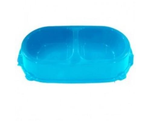 FAVORITE миска пластиковая двойная нескользящая голубая 0,45л