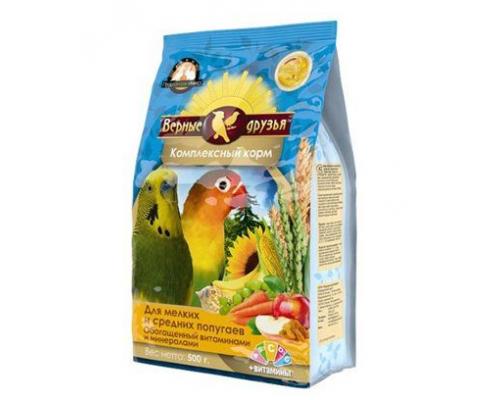 Верные друзья корм для мелких и средних попугаев, с витаминами. Вес: 500 г