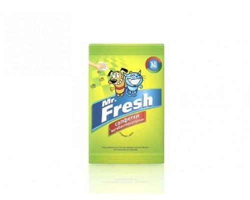 Mr.Fresh Салфетки влажные для собак и кошек антибактериальные 15шт