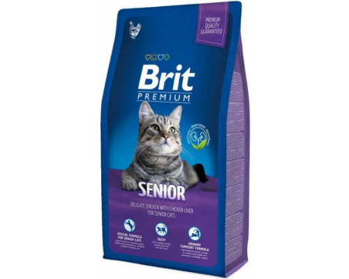 Brit Premium Cat Senior для пожилых кошек с Курицей и печенью. Вес: 300 г