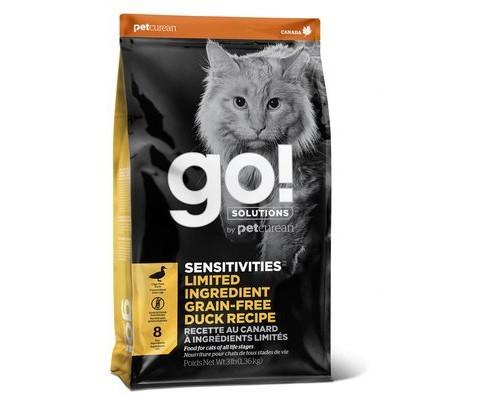 GO! Беззерновой для котят и кошек с чувствительным пищеварением со свежей уткой (GO! SENSITIVITIES Limited Ingredient Grain FreeDuck Recipe CF 31/15). Вес: 1,36 кг