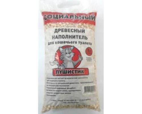 """ПУШИСТИК наполнитель древесный """"Социальный"""" 5 л"""