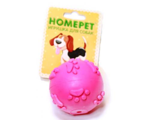 Homepet Игрушка для собак Мяч с рисунком лапки с пищалкой, термопластик 6см