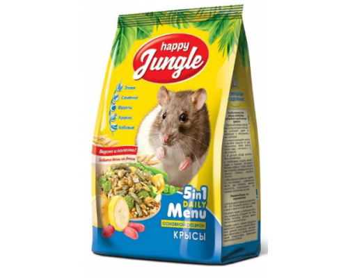 HAPPY JUNGLE Корм для декоративных крыс. Вес: 400 г
