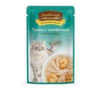 Деревенские лакомства для кошек тунец с креветкой в желе (пауч). Вес: 70 г