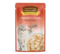 Деревенские лакомства консервы для кошек курица/утка желе (пауч). Вес: 70 г
