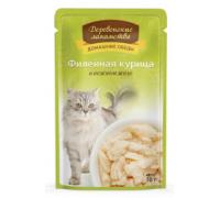 Деревенские лакомства консервы для кошек филе куры желе (пауч). Вес: 70 г