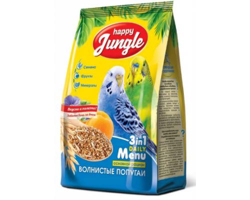 HAPPY JUNGLE Корм для волнистых попугаев. Вес: 500 г