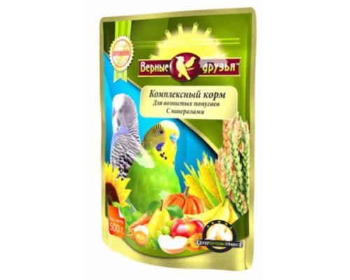 Верные друзья корм для волнистых попугаев с минералами (пакет дой-пак). Вес: 500 г