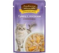 Деревенские лакомства для кошек тунец/лосось желе (пауч). Вес: 70 г