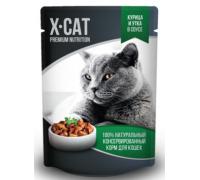 X-CAT Влажный корм для кошек курица и утка в соусе. Вес: 85 г