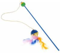 Зооник Игрушка для кошек Удочка-дразнилка с мячом-забавой и пером