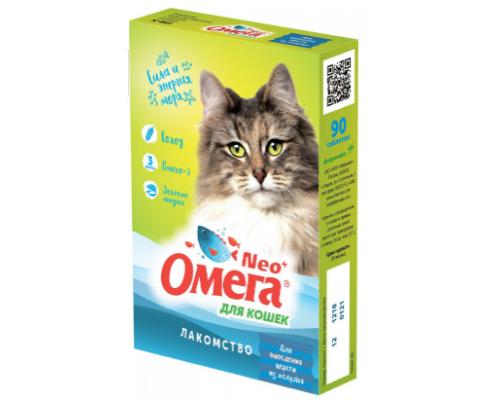 """ОМЕГА NEO+ лакомство для кошек с ржаным солодом """"Для выведения шерсти из желудка"""" 90 таб"""