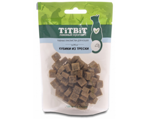 TiTBiT Кубики из трески для кошек (Рыбные лакомства), 60 г