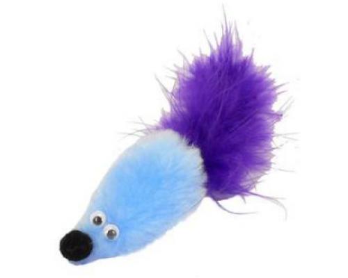 """PETTO Игрушка """"Мышь с мятой"""" GoSi голубой мех с хвостом из пера на картоне с еврослотом"""