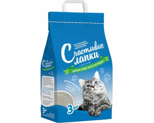 Счастливые лапки наполнитель для кошек комкующийся. Вес: 3 кг
