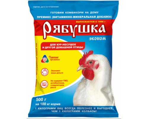 РЯБУШКА Эконом премикс 1% для домашней и декоративной птицы. Вес: 500 г