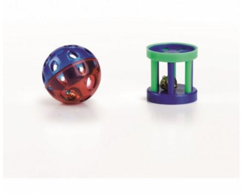 """Beeztees Набор игрушек для кошек """"Мяч-погремушка и цилиндр с колокольчиком"""" (блистер) 4см"""