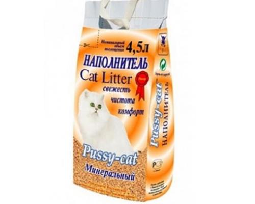 Pussy-Cat Наполнитель минеральный (желтый) 4,5 л (термопак)
