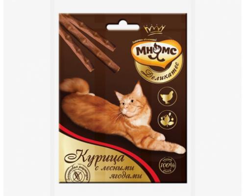 Мнямс Деликатес лакомые палочки 9 см для кошек с курицей и лесными ягодами. Вес: 3х4г
