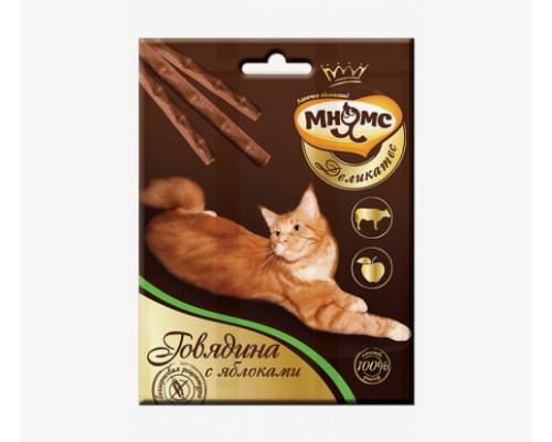 Мнямс Деликатес лакомые палочки 9 см для кошек с говядиной и яблоком. Вес: 3х4г