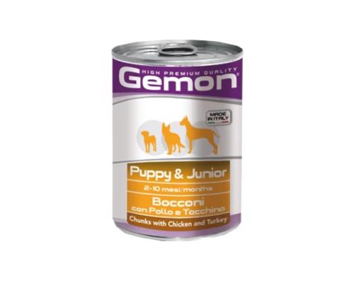 Gemon Dog консервы для щенков кусочки курицы с индейкой. Вес: 415 г